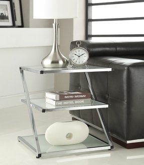 3-tier Chrome Finish Glass Chair Side End Table