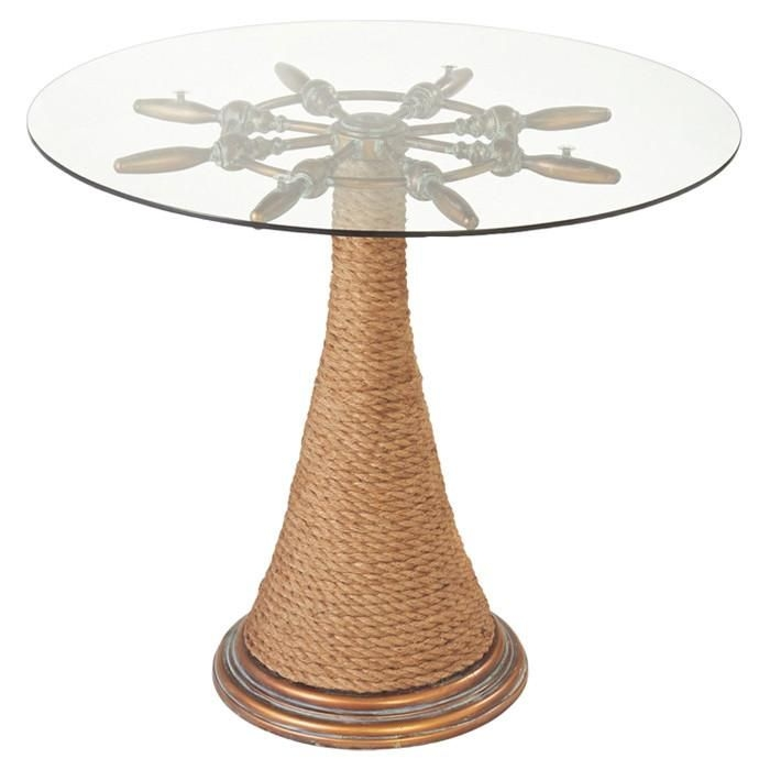 "30"" Nautical Cape Cod Ship's Wheel Accent Table with Glass Top and Rope Trim"