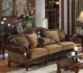 Acme 05495 Dreena Bonded Leather Sofa with Five Pillows