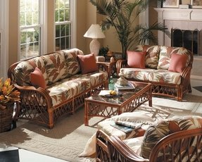 Antigua-Wicker Rattan 5 Pc. Indoor Living Room or Sunroom Seating Group,Color|Walnut,Size|83 x 34 x 35,Pattern|Beige