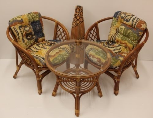 Bahama Rattan Wicker 3 Pieces Set Of 2 Chairs W/cushions And Round Coffee  Table