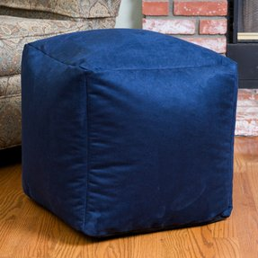 Blue Whitney Suede Bean Bag Cube Ottoman