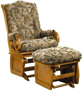 Brooks Furniture 1516 Framed Side Panel Glider Rocker with Maple Finish and April Lynx Cushions and Arm Pads, Maple Sleigh Back