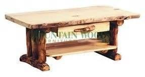 Coffee Table Solid Aspen Wood Living Room Furniture Made in USA in the Rocky Mountains Rustic Log Furniture Perfect for Cabins, Homes, Camps, Lodges and Offices - Western Country Decor Furniture