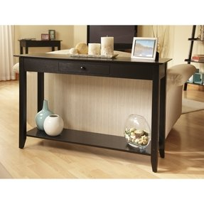 Convenience Concepts 7103081-BL American Heritage Console Table with Drawer and Shelf, Black