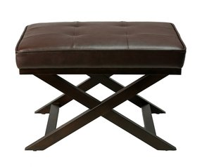 "Cortesi Home Ari ""X"" Bench Ottoman in Bonded Leather with Dark Walnut Wood Legs, Brown"