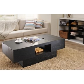 Enitial Lab Lansing Rectangular Coffee Table with Storage, Black