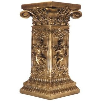 French Golden Floor Table Plant Stand Furniture Pedestal Post Column Interior Decor Carved Cherubs Statue Sculpture