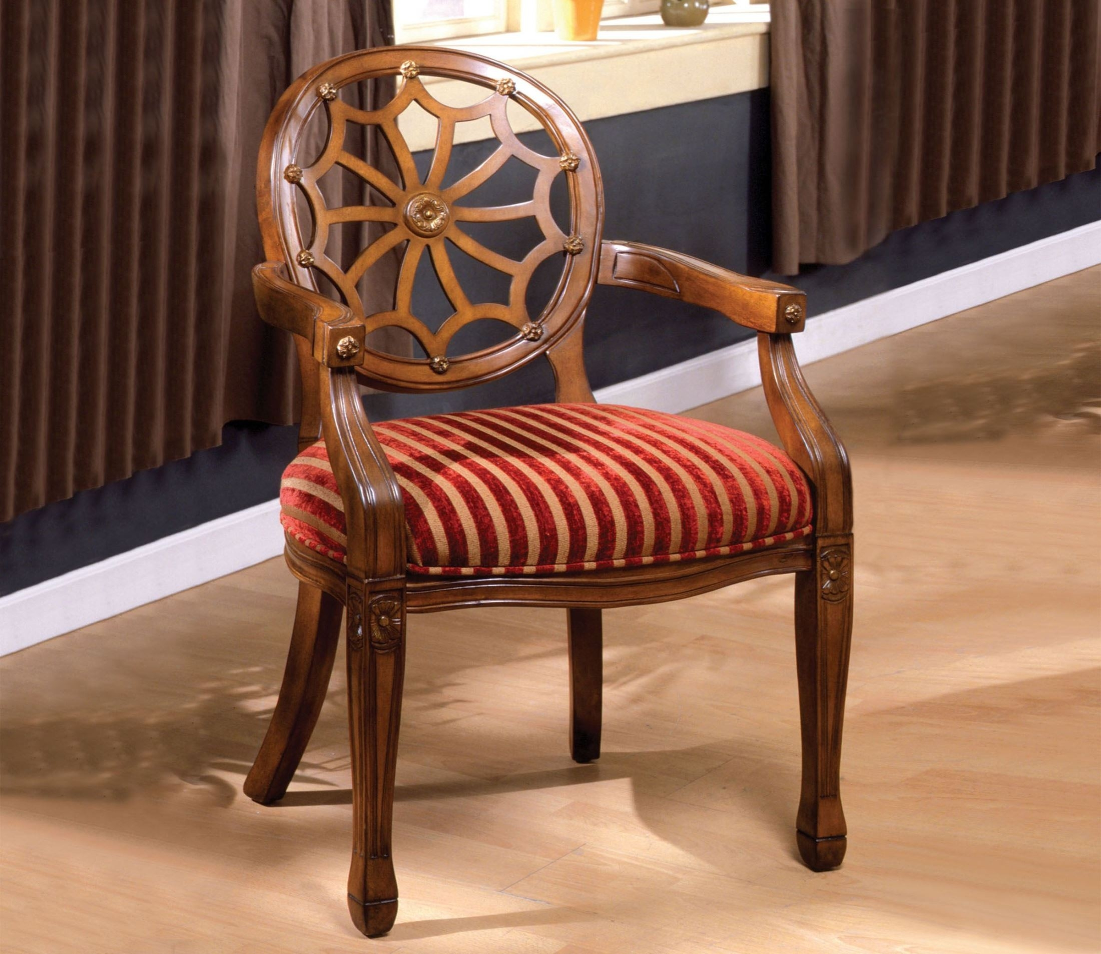 Furniture Of America Gwendolyn Victorian Style Padded Fabric And  Hand Carved Frame Arm Chair,