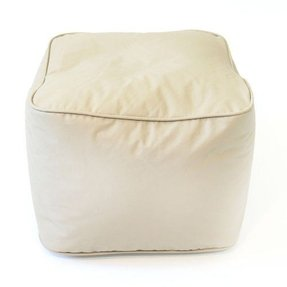 Gold Medal Leather Look Vinyl Ottoman, Small, Cobblestone
