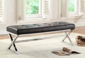 HOMELEGANCE 4605BK Metal Base Bench, Black