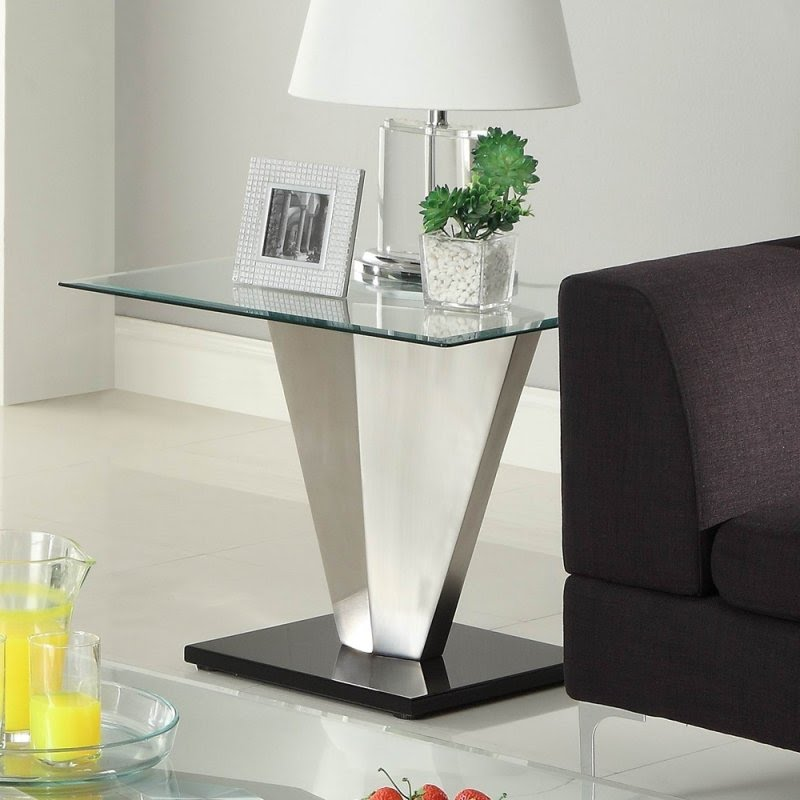 Merveilleux Homelegance Silverstone Square Glass End Table W/ Brushed Chrome Base