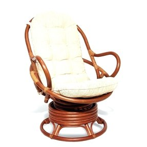 Java Swivel Rocking Chair Colonial with Cushion Handmade Natural Wicker Rattan Furniture