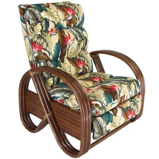 Kailua Rattan Upholstered Furniture Recliner Chair Made in USA
