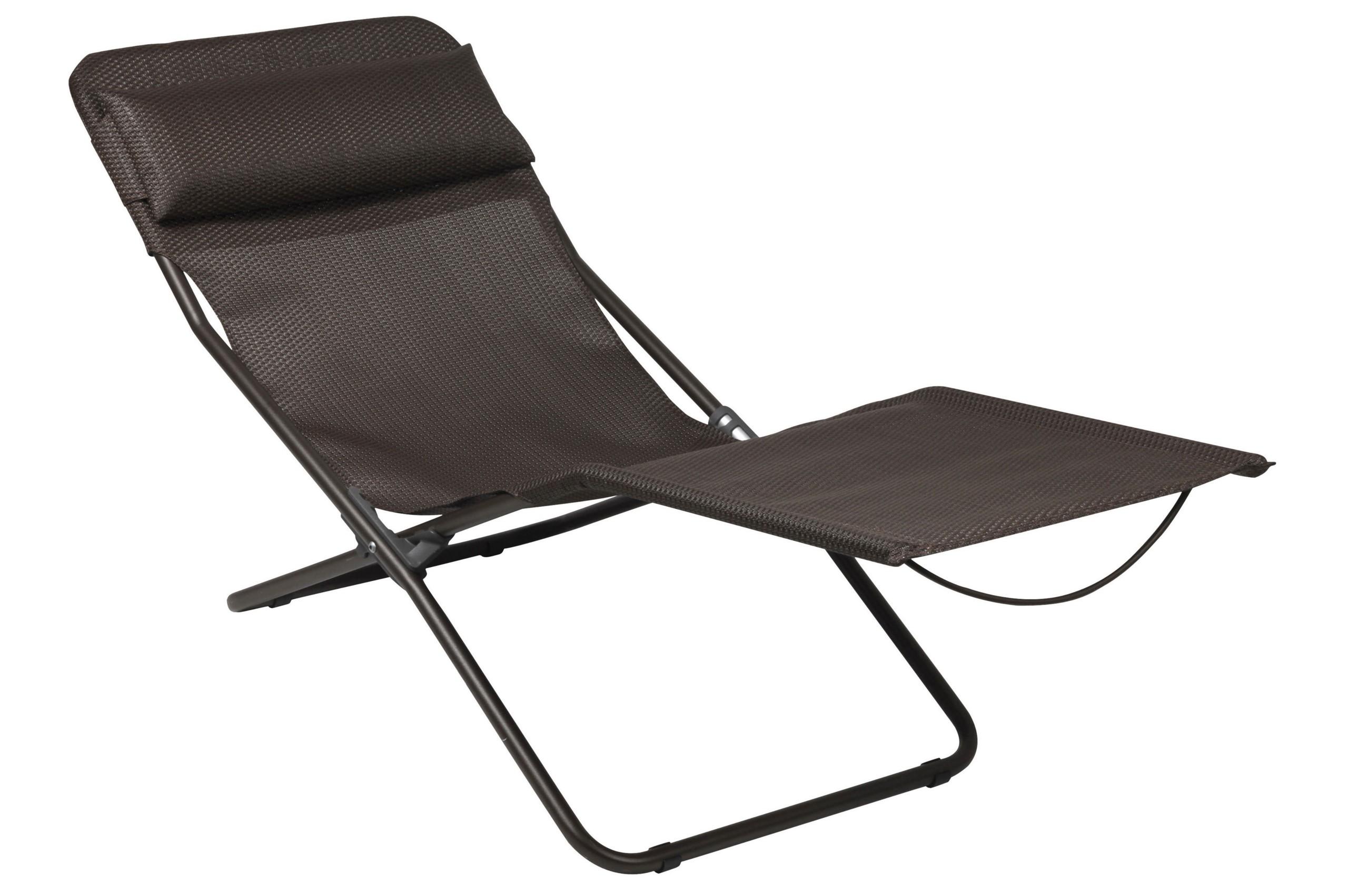 Gentil Lafuma Transalounge Folding Recliner Chair   MOKA/MARRON BROWN