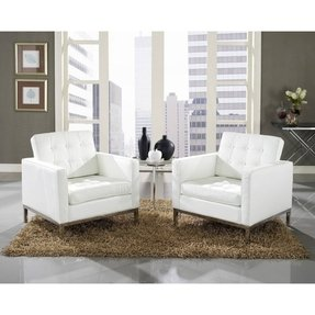 LexMod Florence Style Leather Armchairs and Eileen Gray Side Table Set in White