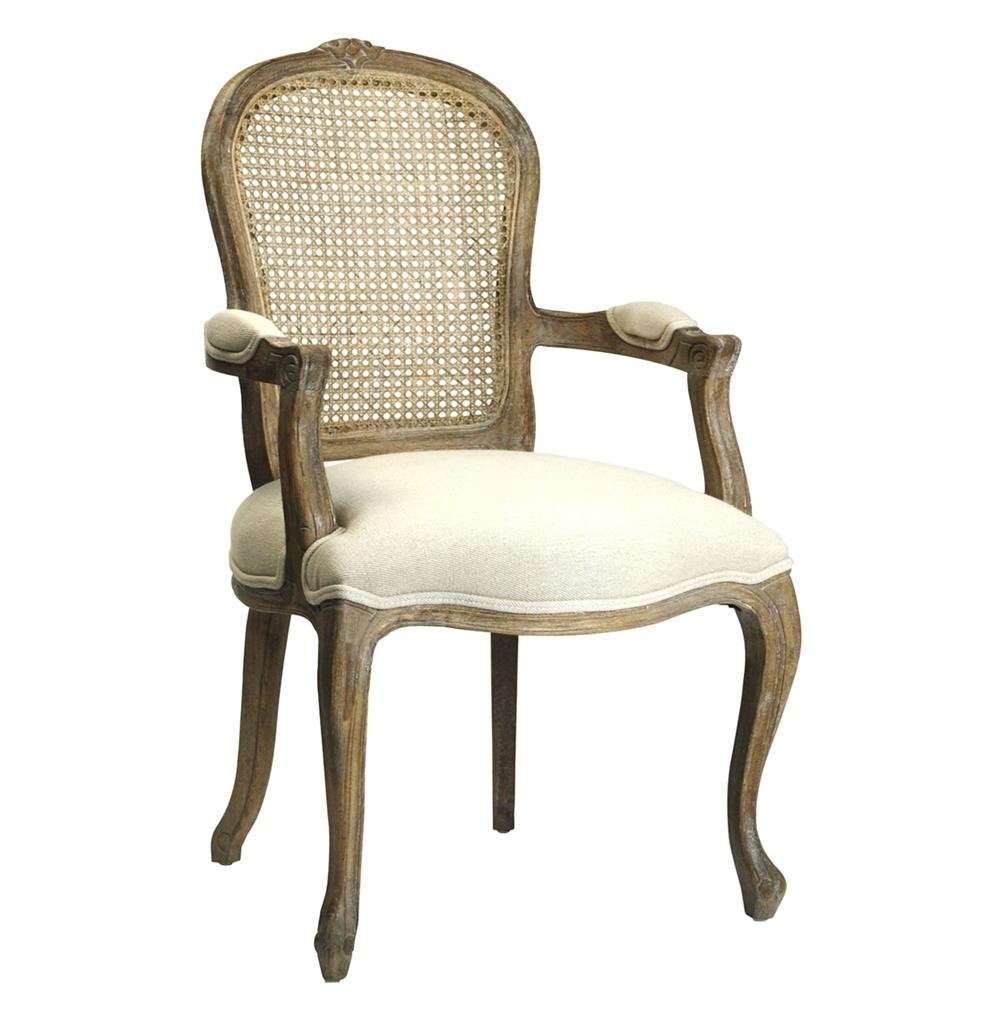 Lyon French Country Cane Back Linen Dining Arm Chair