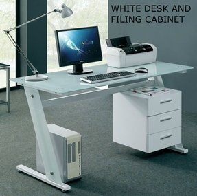 glass desk for office. Modern Glass Desk Office Computer Table White Workstation With 3 Drawer Cabinet For