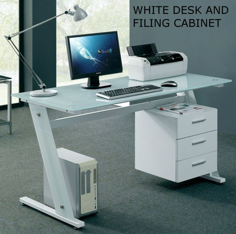 Superieur Modern Glass Desk Office Computer Table White Workstation With 3 Drawer  Cabinet