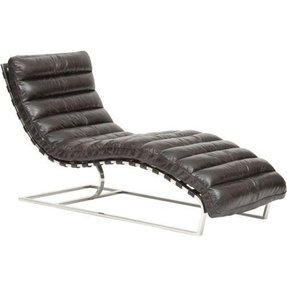 Oviedo Leather Chaise - Antiqued Ebony