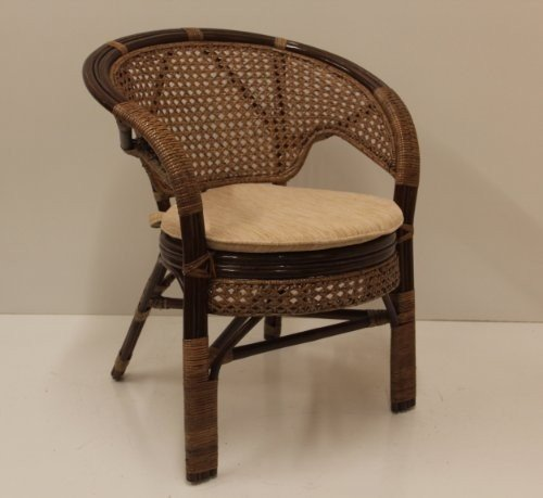 Pelangi Handmade Rattan Dining Wicker Chair W/cushion Dark Brown