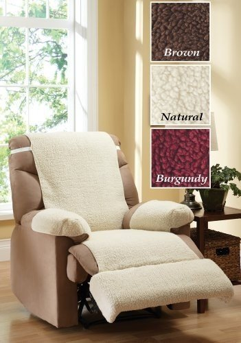 Recliner Chair Fleece Cover 4 Piece Set Natural