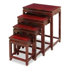 Rosewood Ming Nesting Tables - Dark Cherry