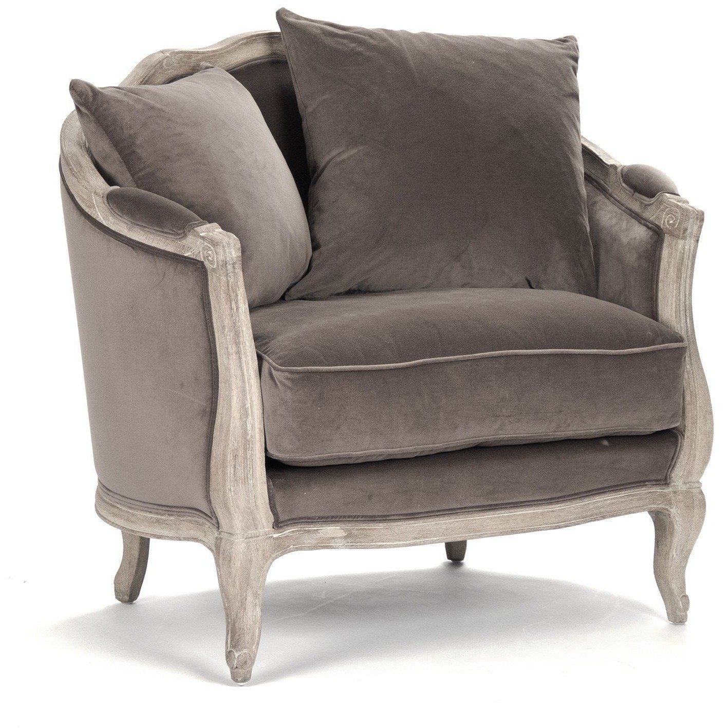Rue Du Bac French Country Chocolate Velvet Feather Chair