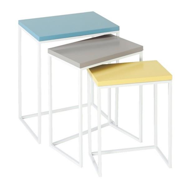 Set Of 3 Vibrant Blue, Gray And Yellow Modern Rectangular Nesting Tables
