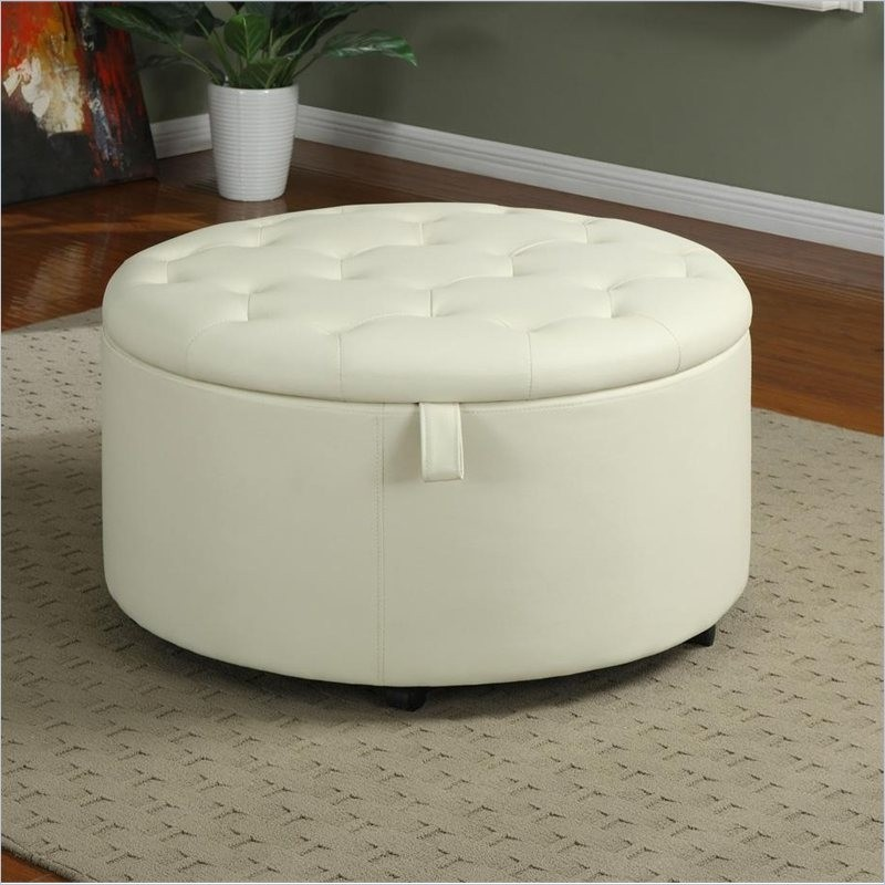 It is a classic and elegant ottoman that has got a storage round shape cream finish and comfortable seat. It can be used as a footstool ottoman chair ... & Round Coffee Table With Storage Ottomans - Foter