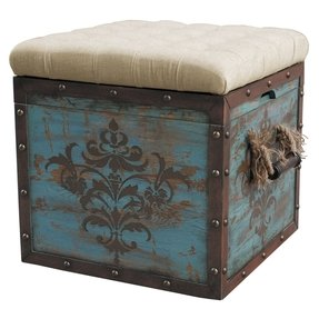 Teal Wood Crate Upholstered Ottoman