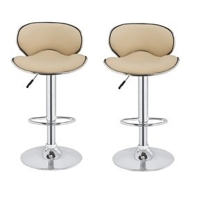 2 x Homegear M0 Cherner Adjustable Swivel Faux Leather Bar Stools Cream