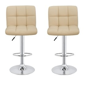 2 x Homegear M2 Contemporary Adjustable Swivel Faux Leather Bar Stools Cream