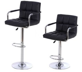 2 X Pu Leather Hydraulic Lift Adjule Counter Bar Stool Dining Chair Black 150