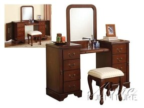 3pc Vanity Table, Mirror & Stool Set in Cherry Finish