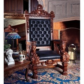 "67"" Hand Carved solid mahogany replica Hand-Carved Solid Mahogany Throne Chair"
