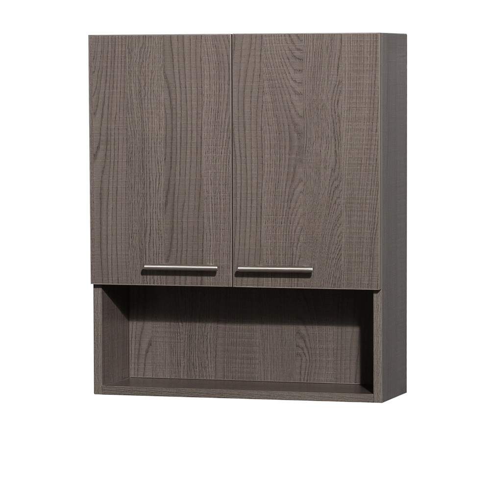 Amare Bathroom Wall Mounted Storage Cabinet In Grey Oak (Two Door)