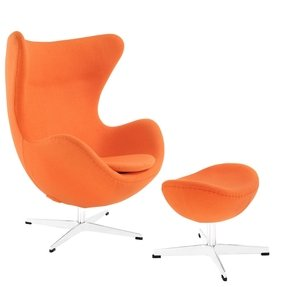 Arne Jacobsen Orange Lounge Egg Chair and Ottoman FMP25976