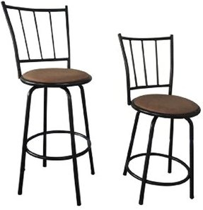 Black Finish Scroll Back Adjustable Metal Swivel Counter Height Bar Stools (Set of 2)