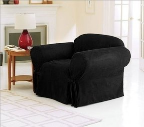 Chezmoi Collection Soft Micro Suede Solid Black Armchair /Arm-chair Cover Slipcover with Elastic Band Under Seat Cushion