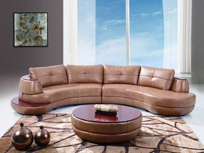 Global Furniture USA Bonded Leather Sectional Sofa, Honey