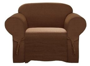 Heavy-duty Jacquard Fabric Solid Chocolate Brown Armchair /Arm-chair Cover Slipcover