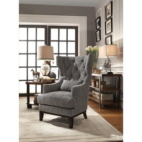 Homelegance 1217F1S Accent Chair with Kidney Pillow, Dark Grey/White