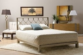 Honeycomb Metal Headboard and Aura Gold Metal Platform Bed (Gold, Full)