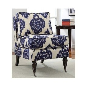 Ikat Accent Armless Chair Blue and Cream