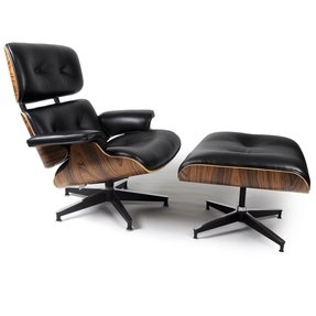 Mid Century Modern Classic Palisander Plywood Lounge Chair & Ottoman With Black Premium Top Grain Leather Eames Style Replica