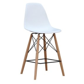 Mid Century Modern Eames DSW Style Bar Stool Chair with Dowel Wood Eiffel Base