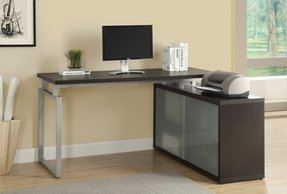 "Monarch Hollow-Core ""L"" Shaped Desk with Frosted Glass, Cappuccino"