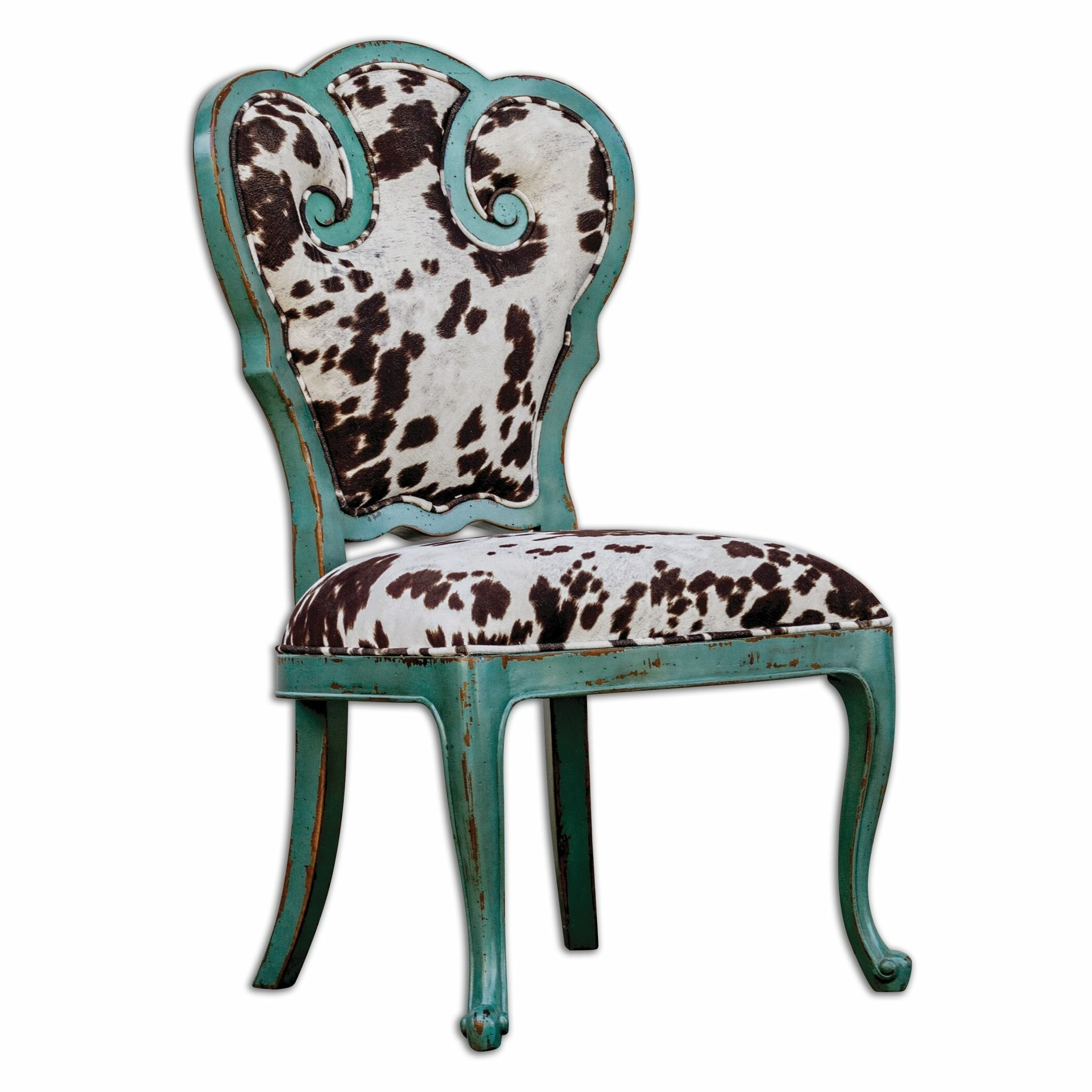 Amazing Retro Aqua Blue Scroll Side Chair With Cow Print Cushion