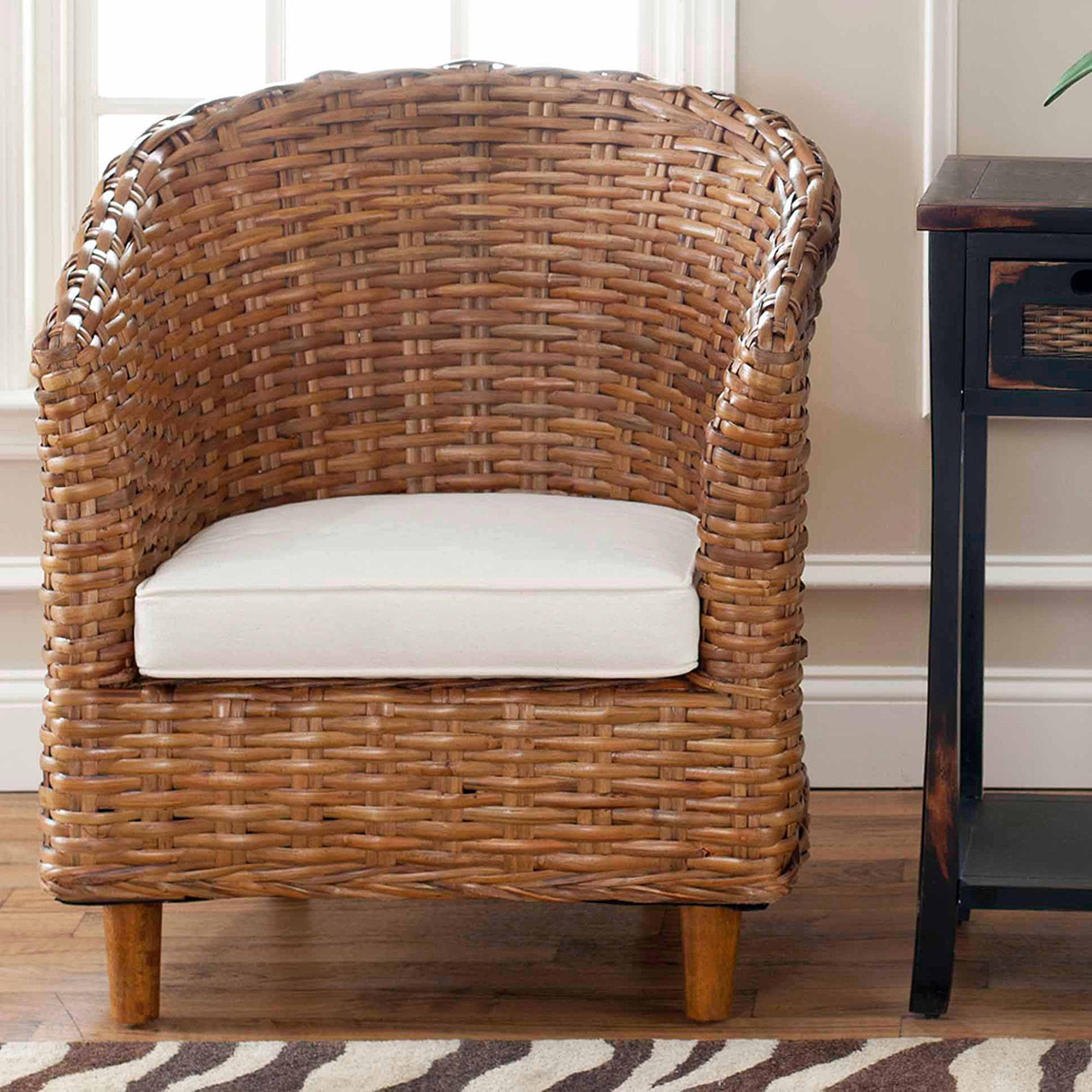 Safavieh Home Collection Ella Honey Oak Wicker Barrel Chair